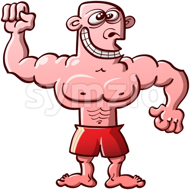Funny bodybuilder exhibiting his muscles Stock Vector