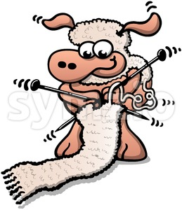 Cute sheep knitting a scarf with its own wool Stock Vector