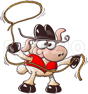 Funny sheep playing the role of a brave cowboy Stock Vector