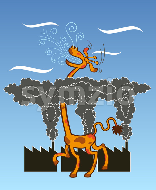 Long-necked giraffe breathing fresh air after escaping pollution cloud Stock Vector