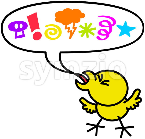Rude little chicken saying bad words Stock Vector