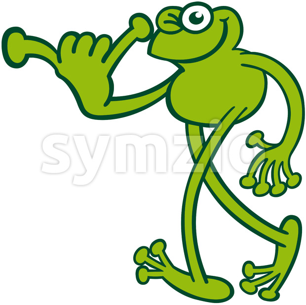 Cool green frog greeting by doing a Shaka sign Stock Vector