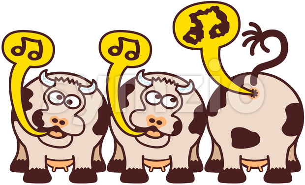 Group of funny cows singing in an odd way Stock Vector