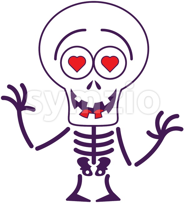 Halloween skeleton falling in love Stock Vector