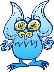 Blue alien showing a surprised but angry mood Stock Vector