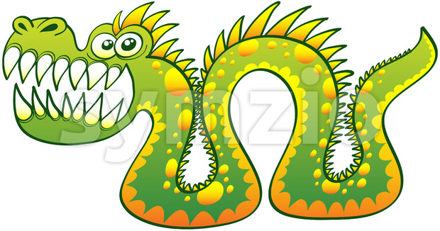 Terrific sea monster posing while showing its sharp teeth Stock Vector