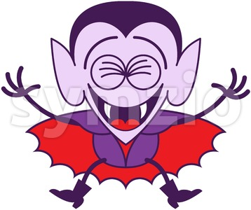 Halloween Dracula laughing joyfully Stock Vector