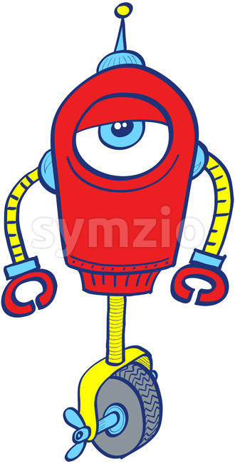 One-eyed metallic red robot in apathetic mood Stock Vector
