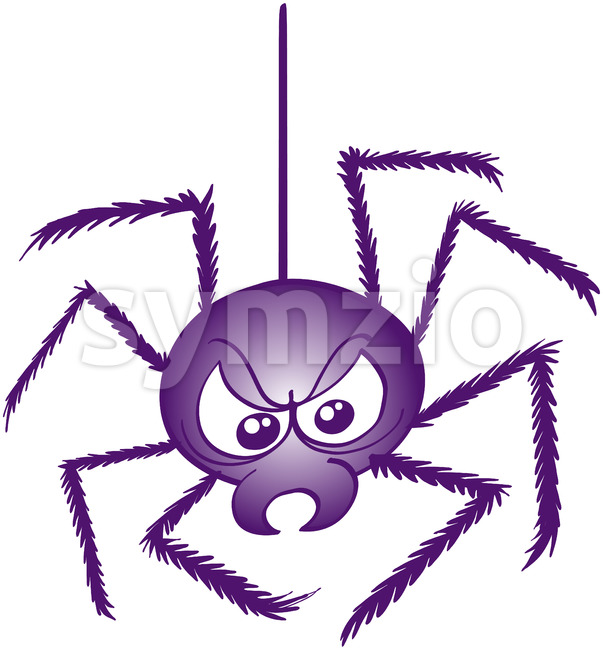 Scary spider hanging from its strong web thread Stock Vector