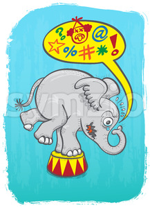 Circus elephant feeling mad and saying bad words Stock Vector