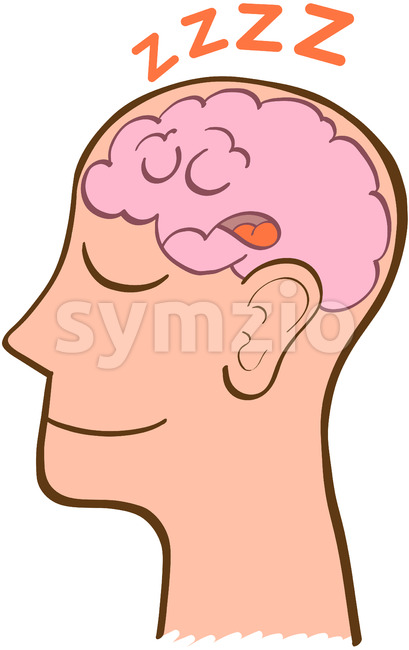 Man in perfect meditation while his brain is sleeping Stock Vector