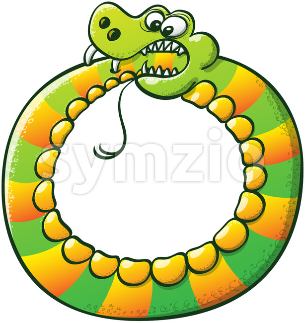 Bold snake forming a cycle with its body and biting its own tail Stock Vector