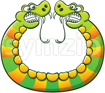 Double headed snake confronting opposite sides Stock Vector