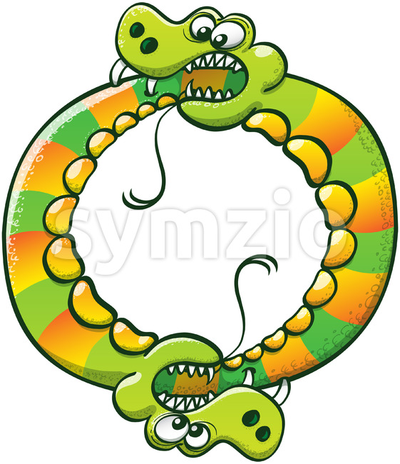 Couple of snakes digging fangs into each other's tail Stock Vector