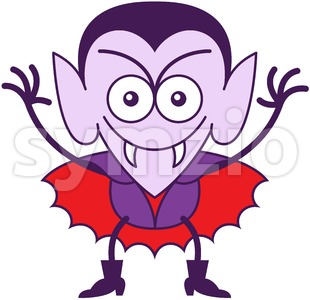 Halloween Dracula smiling mischievously Stock Vector