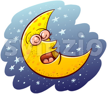 Beautiful crescent moon sleeping placidly Stock Vector