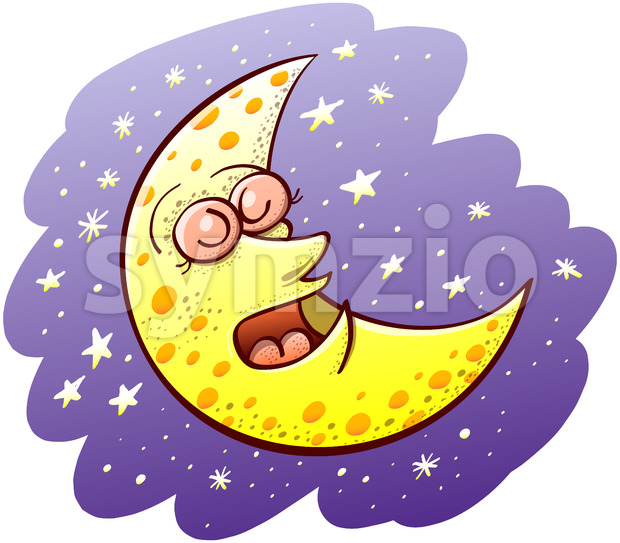 Nice crescent moon sleeping deeply Stock Vector