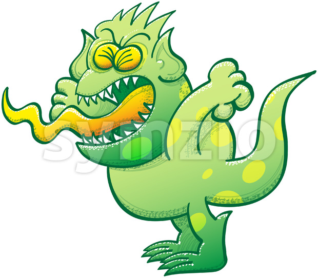 Green monster feeling furious and yelling Stock Vector