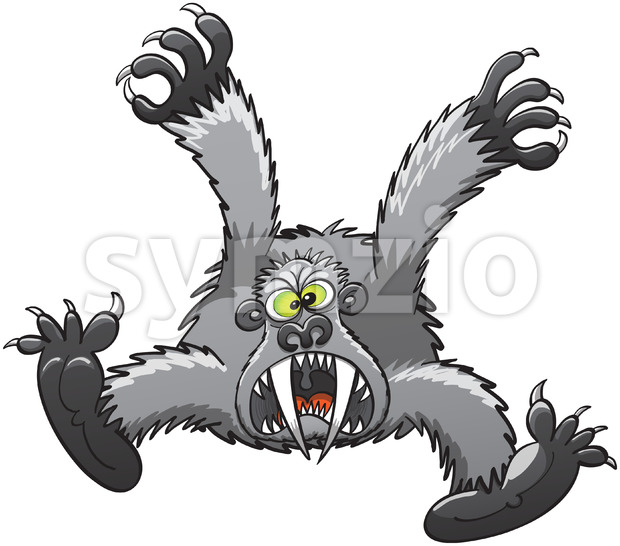 Furious gorilla attacking by leaping on you Stock Vector