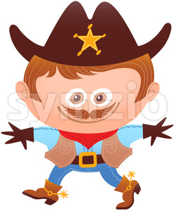 Little boy wearing a cowboy costume for Halloween Stock Vector