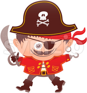 Mischievous boy wearing a pirate costume for Halloween Stock Vector