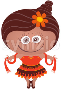 Cute girl wearing a dancer costume for Halloween Stock Vector