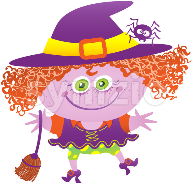 Mischievous girl wearing a witch costume for Halloween Stock Vector
