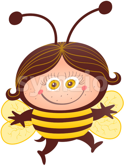 Cute girl wearing a bee costume for Halloween Stock Vector