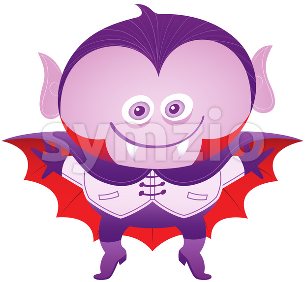Mischievous boy wearing a Dracula costume for Halloween Stock Vector