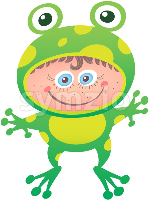 Little girl wearing a frog costume for Halloween Stock Vector