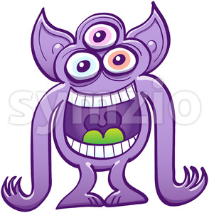 Three-eyed alien having fun by laughing mischievously Stock Vector