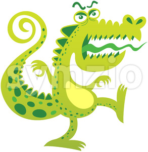 Terrific reptile-like monster growling aggressively Stock Vector