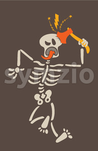 A self-inflicted axe blow just to become a scarier skeleton Stock Vector