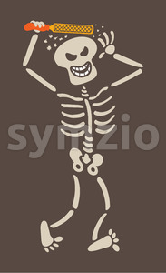 Mischievous skeleton rasping its own skull Stock Vector