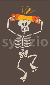 Skeleton sawing its own skull with a two handed saw Stock Vector