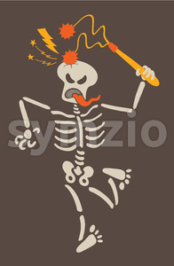 Masochistic skeleton breaking its own skull with a flail Stock Vector