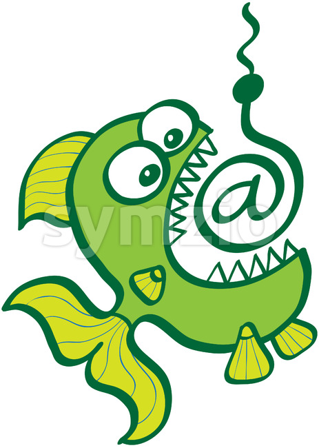 Voracious fish opening mouth and biting an At sign bait Stock Vector