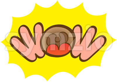 Hand and open mouth WOW expression Stock Vector