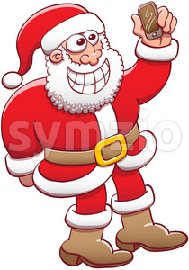 Grinning Santa Claus taking a selfie with his smartphone Stock Vector