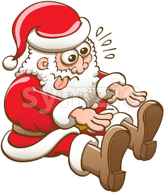 Santa Claus stretching to touch his boots with his fingers Stock Vector