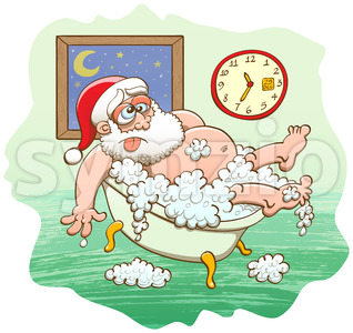Exhausted Santa Claus taking a bubble bath Stock Vector