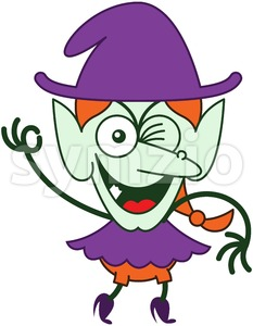 Halloween witch winking and making an OK sign Stock Vector