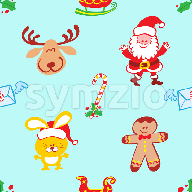 Characters pattern, Santa, reindeer, bunny and cookie man Stock Vector