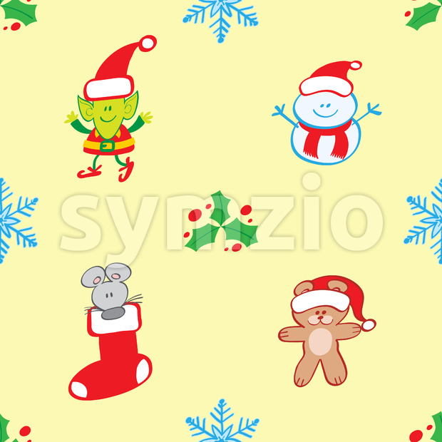 Teddy, mouse, elf and snowman Xmas pattern Stock Vector