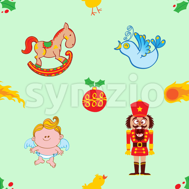 Cute characters, toys and ornaments for a Christmas pattern