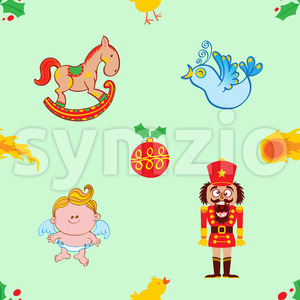 Horse, bird, angel and nutcracker Christmas pattern Stock Vector