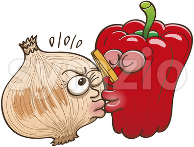 Smelly onion and cautious sweet pepper kissing Stock Vector