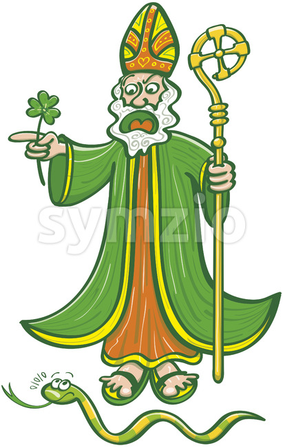 Saint Patrick chasing last Irish snake Stock Vector