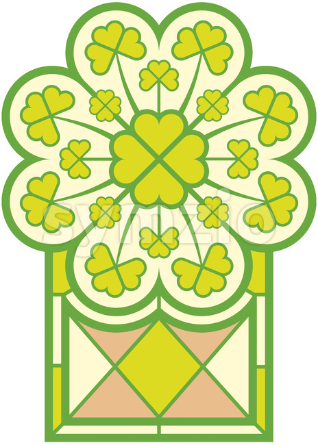 Saint Patrick' Day stained glass window full of clovers Stock Vector