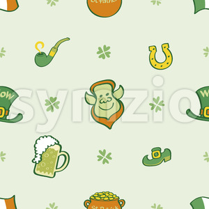 Joyous Saint Paddy's Day pattern, seamless and colorful Stock Vector